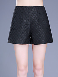 Plus Size Wide Leg Shorts Pants,Going out Casual/Daily Simple Cute Solid Polka Dot Lace Jacquard High Rise Zipper Others Micro-elastic