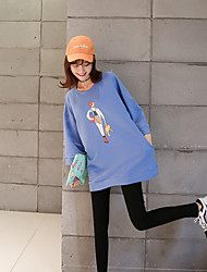 Sign 2017 spring and summer / loose big yards long section of thick sleeves and a small stretch sweater