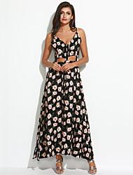 Femme Dos Nu Gaine Robe Décontracté/Quotidien/Plage Mignon,Fleur A Bretelles Maxi Sans Manches Noir Coton Eté Taille Haute Micro-élastique