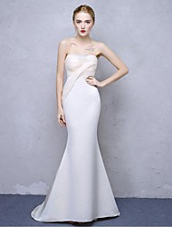 Formal Evening Dress Trumpet / Mermaid Strapless Sweep / Brush Train Satin Chiffon with