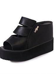 Sandalen-Kleid Lässig-PU-Flacher Absatz-Komfort-Schwarz Weiß