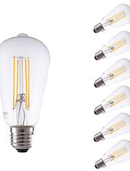 4W E26/E27 LED žárovky s vláknem ST64 4 COB 450 lm Teplá bílá Stmívací Ozdobné AC 220-240 V 6 ks
