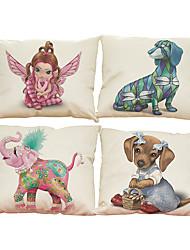 Set of 4 3D animal pattern  Linen Pillowcase Sofa Home Decor Cushion Cover