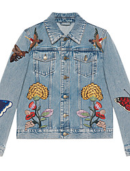 Women's Embroidery G Spring Korean butterfly embroidery loose short denim jacket female cardigan wild student