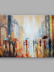 Abstract Figure Painting Rainy Days in The Street Art Work Framed Dark Blue Color 60x90cm