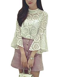 Feminino Conjunto Casual Simples / Sofisticado Verão / Outono,Sólido Branco / Preto Raiom / Poliéster Colarinho Chinês Manga ¾ Fina