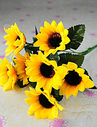 6 Heads Rural Style Silk Cloth Simulation Sunflowers Yellow