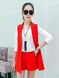 Korean women wear long-sleeved T-shirt Slim three-piece dress suits long vest shorts suit