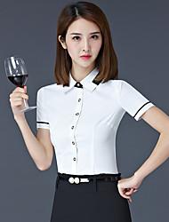 Dames Sexy T-shirt,Uitgaan Effen Overhemdkraag Korte mouw Spandex