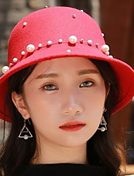 Spring Autumn England Pure Color Jazz Woolen Hat Cap Dome Rivets Pearl Small Hat