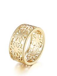 Anéis Forma Redonda Diário Casual Jóias Chapeado Dourado Anel 1peça,7 8 Dourado