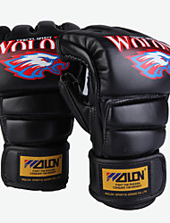 Boxing Gloves Fingerless Gloves Men's Breathable Wearproof Tactical Protective Boxing PU Leather Black