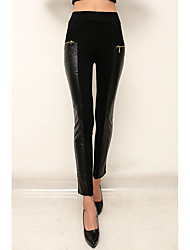 Sign ebay AliExpress Ladies PU zipper stitching package hip Slim Leggings Pants