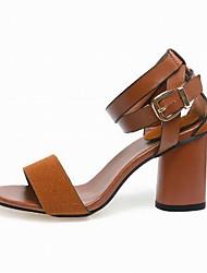 Da donna-Tacchi-Ufficio e lavoro Formale Casual-Club Shoes-Quadrato-PU (Poliuretano)-Nero Marrone