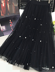 Women's A Line Solid Tulle Skirts,Casual/Daily Simple High Rise Maxi Elasticity Polyester Stretchy Spring Summer
