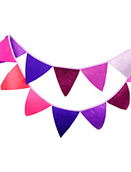 2.8m 12 Flags Purple Banner Pennant Nonwoven Fabric Bunting Banner Booth Props Photobooth Birthday Wedding Party Decoration
