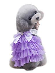 Chien Robe Vêtements pour Chien Eté Lace Mignon Mariage Mode Violet Rose Bleu clair