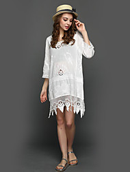 Women's Going out Beach Holiday Sexy Simple Boho Loose Lace Dress,Solid Round Neck Mini Long Sleeve White Polyester Summer High Rise