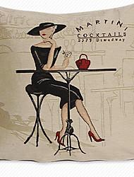 1 pcs Cotton/Linen Pillow CaseTextured Euro Retro Sitting Lady in Black Dress