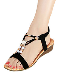 Для женщин Сандалии Удобная обувь Полиуретан Весна Повседневные Удобная обувь На плоской подошве Белый Черный На плоской подошве