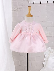 Baby Going out Casual/Daily Solid Dress,Cotton Polyester Spring Fall Pink