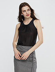 Women's Europe Popular Solid T-shirt , Casual/Work Round Neck Sleeveless