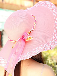 Sunscreen Beach Summer Bow Band Tie Outside Wide Brim Hat Straw (Multi-color optional)