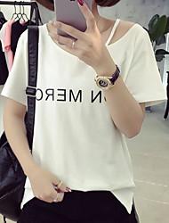 Damen Druck Einfach Lässig/Alltäglich T-shirt,V-Ausschnitt Frühling Sommer Kurzarm Weiß Schwarz Polyester Mittel