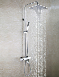Contemporary Bathtub Shower Faucet Set / 10 Inch Bathroom Waterfall Shower Head / Hand Shower Included / Thermostatic Bath Mixer Valve / Chrome Brass