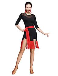 Latin Dance Dresses Women's Training Milk Silk Sash Tassel half sleeve Natural Waist Belt Dress
