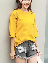 Damen Solide Einfach Lässig/Alltäglich T-shirt,Rundhalsausschnitt Frühling Sommer Kurzarm Weiß Gelb Nylon Mittel