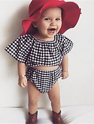 bebê Menina Casual Houndstooth Conjunto Verão