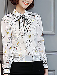 Women's Going out Casual/Daily Work Street chic Spring Blouse,Floral Shirt Collar Long Sleeve Polyester Medium