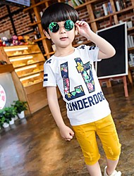 Boy's Cotton Fashion Pure Cotton Round Collar Short Sleeve T-shirt Cartoon Design Hole Shorts Two-Piece Outfit with any accessories