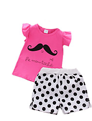 Girl Casual/Daily Sports Print Sets,Cotton Summer Short Sleeve Clothing Set