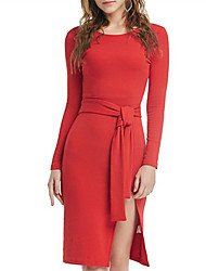 Fashion Wild Round Neck Long Sleeves Red Side Fork Dress Everyday Casual LO Party Prom Formal Occasions Dresses