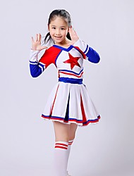 Cheerleader Costumes Outfits Children's Performance Spandex Draped 2 Pieces Long Sleeve Top Skirt