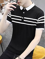 Summer short-sleeved t-shirt lapel male Korean Slim Men's Polo shirt collar short-sleeve dress stripe compassionate