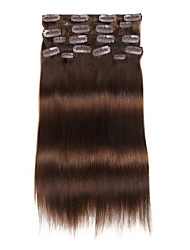 9Pcs/Set Deluxe 120g #4 Medium Brown Chocalate Brown Clip In Hair Extensions 16Inch 20Inch 100% Straight Human Hair