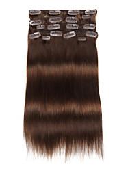 9pcs / set deluxe 120g # 4 средств коричневый коричневый цвет chocalate зажим в выдвижениях волос 16inch 20inch человеческие волосы 100% прямые