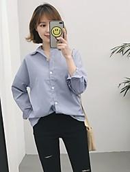 real shot! koreanische lose lange Schnittdicke gestreiften langärmeligen T-Shirt