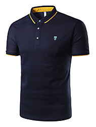 Men's Casual/Daily Formal Sports Simple Polo,Solid Shirt Collar Short Sleeve Blue White Gray Cotton
