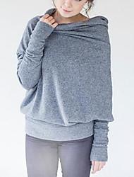 Damen Solide Einfach Lässig/Alltäglich T-shirt,Rollkragen Frühling Winter Langarm Polyester Mittel