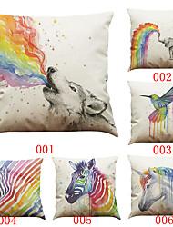 Set of 6 Painting rainbow animal  pattern   Linen Pillowcase Sofa Home Decor Cushion Cover (18*18inch)