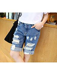 europa bf vento ocasional shorts jeans feminina era magro quinto frouxo ondulação nas calças desgastado furo de 5 estrelas # 8025