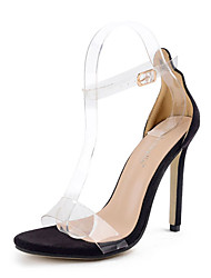 Sandals Summer Club Shoes Rubber Dress Chunky Heel Buckle Black