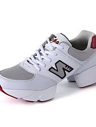 Non Customizable Women's Dance Shoes Leatherette Leatherette Dance Sneakers Split Sole Cuban Heel Practice Black White
