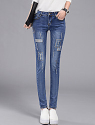 Women's Plus Size Skinny Jeans Chinos Pants Casual/Daily Street chic Embroidered Mid Rise Zipper Button Cotton Stretchy All Seasons