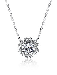 Pendentif de collier Colliers chaînes Zircon cubique Forme de Fleur Argent sterling ZirconBasique Original A Fleurs Pendant Géométrique
