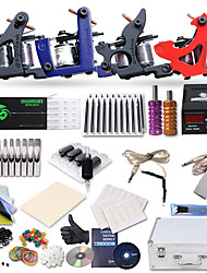 Kit de tatouage complet 4 x Machine à tatouer en fonte pour le traçage et l'ombrage 4 Machines de tatouage LCD alimentationEncres